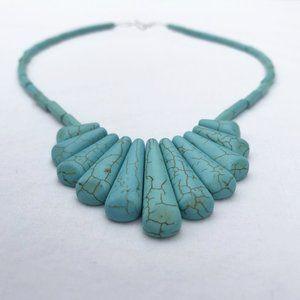 TURQUOISE Magnesite Graduated Fan Pendant Necklace